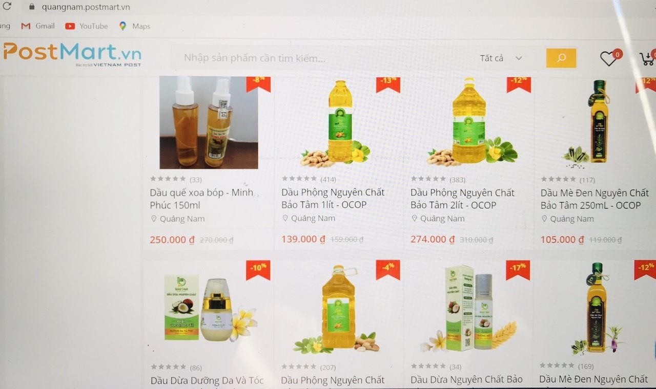 Nhiều sản phẩm OCOP Quảng Nam đã lên Sàn thương mại điện tử postmart. Ảnh: V.A