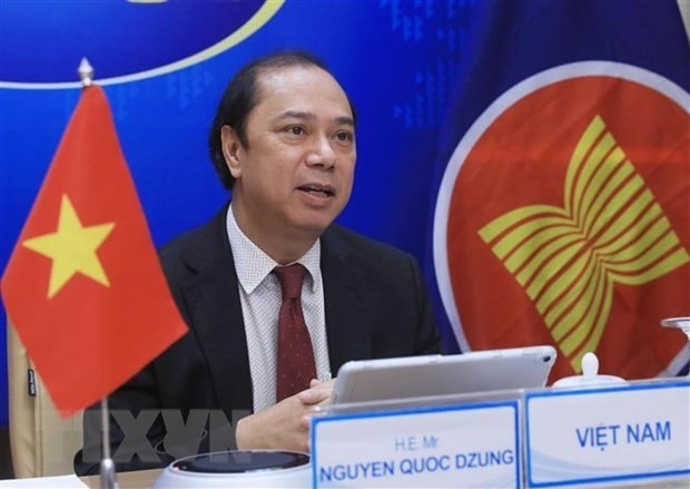 Deputy Minister of Foreign Affairs Nguyen Quoc Dung at the teleconferenced EAS Senior Officials' Meeting on June 24 (Photo: VNA)