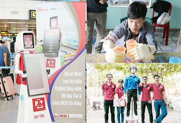 Các sản phẩm robot thông minh của DTU, từ trái qua: iRobot hướng dẫn hành khách tại Cảng Hàng không quốc tế Đà Nẵng; cánh tay robot cho học sinh khuyết tật; robot dẫn người qua đường có còi hụ ở TP.Đà Nẵng.