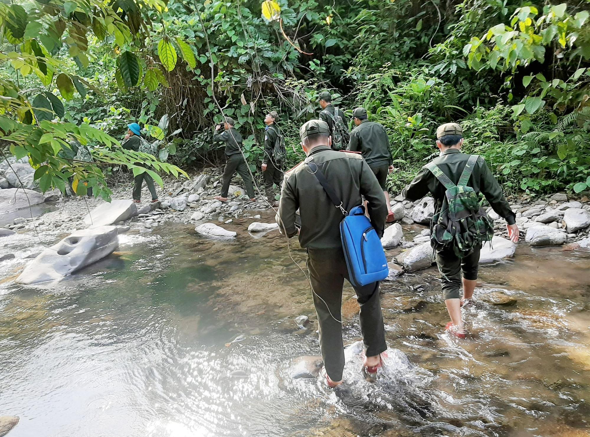 Thường xuyên tổ chức tuần tra, kiểm soát giúp lực lượng bảo vệ rừng Nam Giang giữ an toàn địa phận quản lý trong mùa khô. Ảnh: ALĂNG NGƯỚC