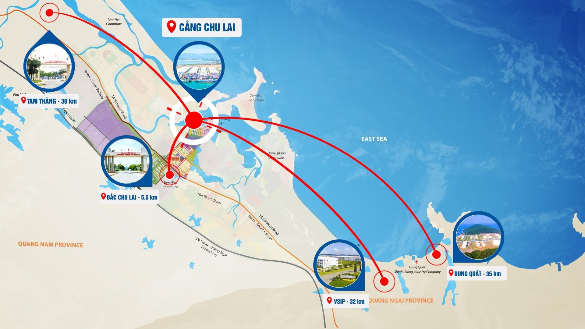 Describe the location of Chu Lai port