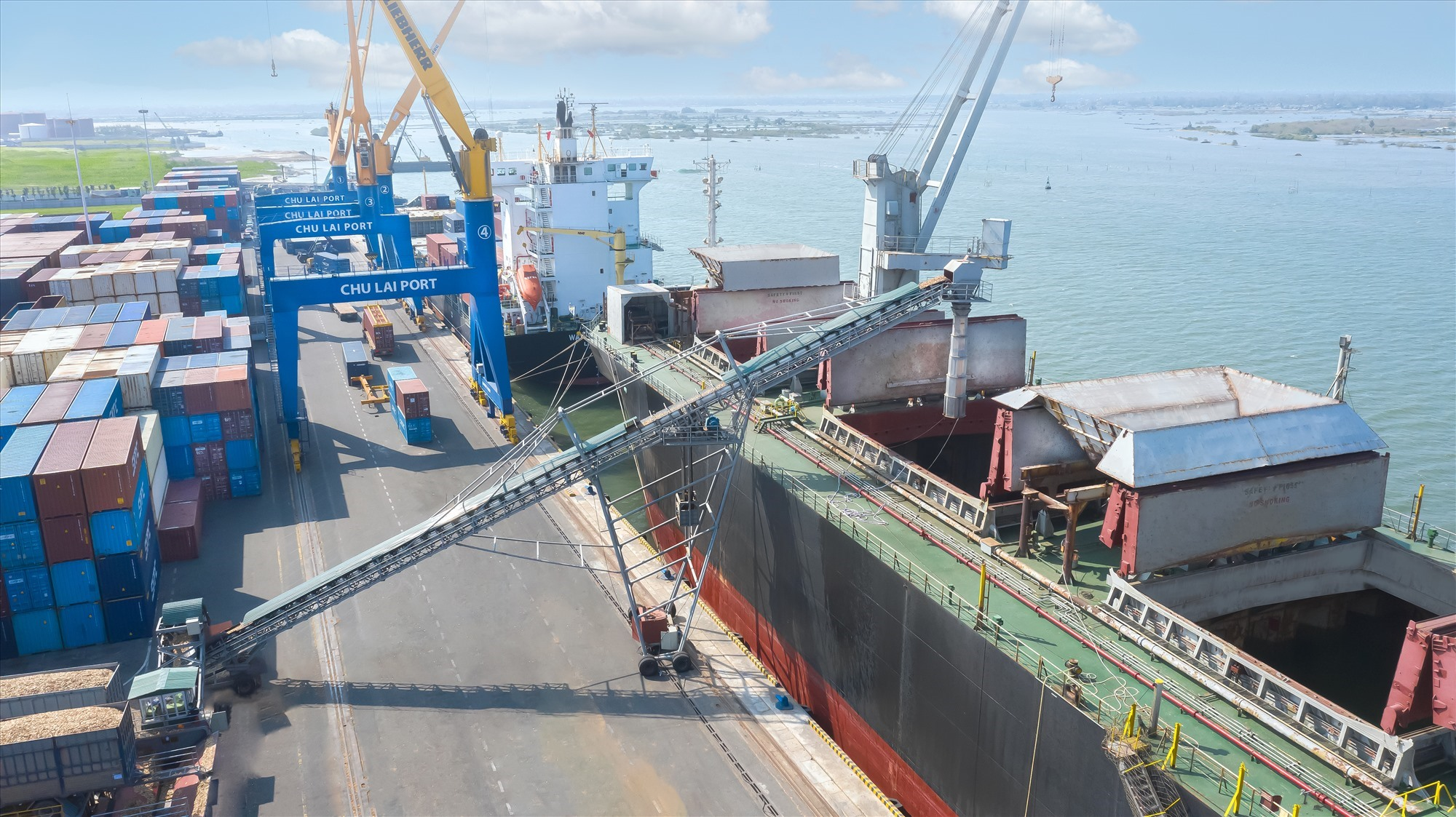 Goods is loaded onto ships for export.