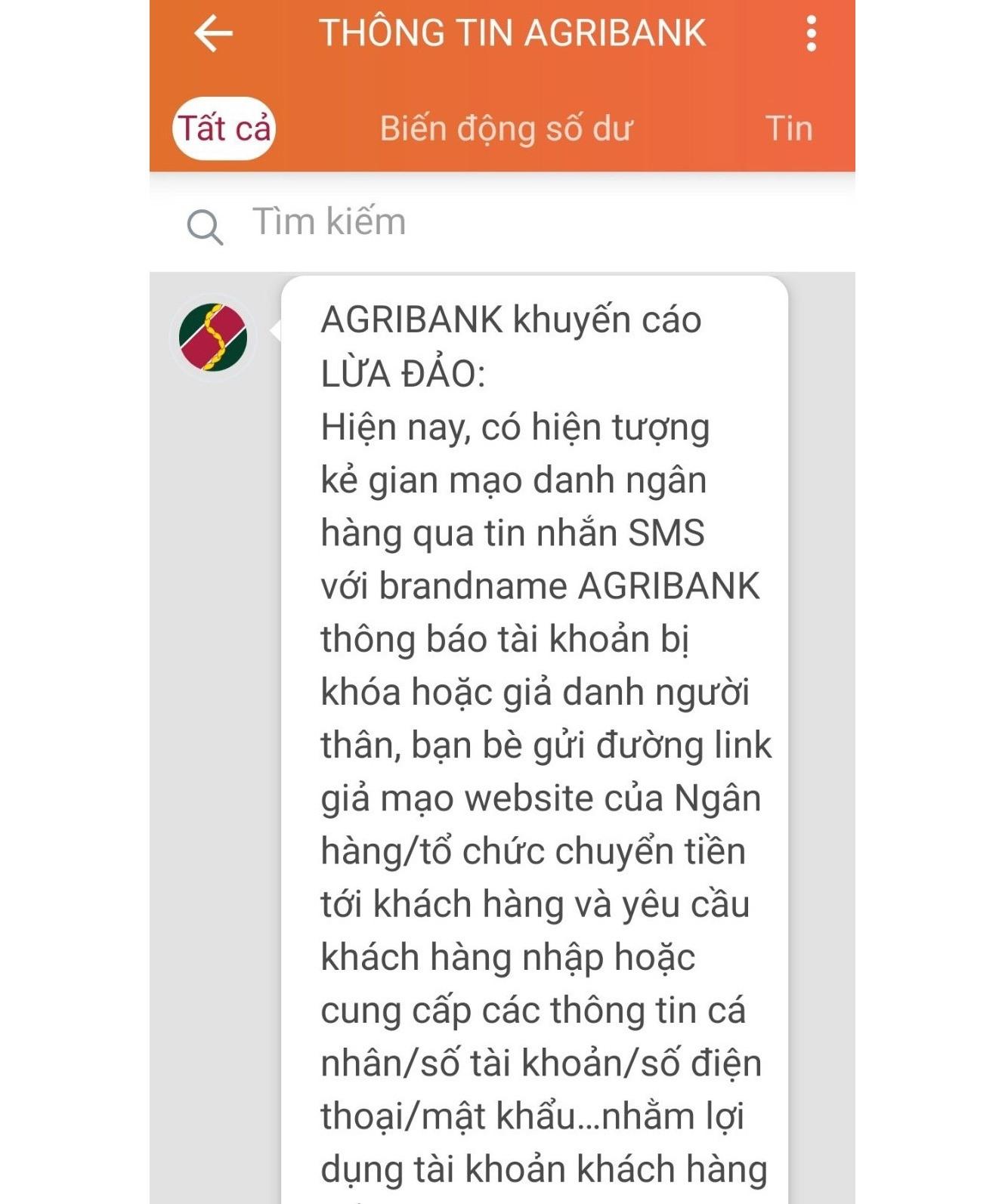 Agribank nhắn tin khuyến cáo lừa đảo đến điện thoại khách hàng. Ảnh chụp màn hình.