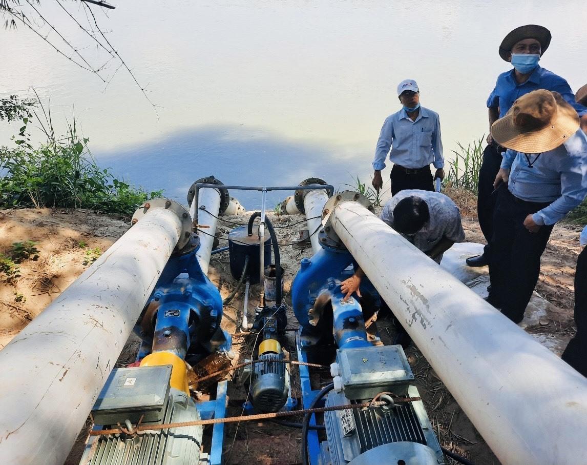 Trạm bơm điện Cầu Ván ở xã Duy Tân (Duy Xuyên) vừa được xây dựng để đảm bảo cung ứng nước tưới cho cây trồng. Ảnh: T.L