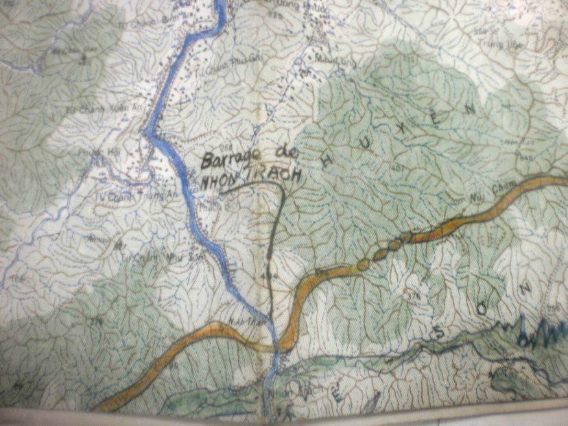Vị trí của thủy điện Nhơn Trạch trên sông Thu Bồn (nay thuộc huyện Nông Sơn). Bản đồ trong Hồ sơ: DICH-15108, TTLTQG II.