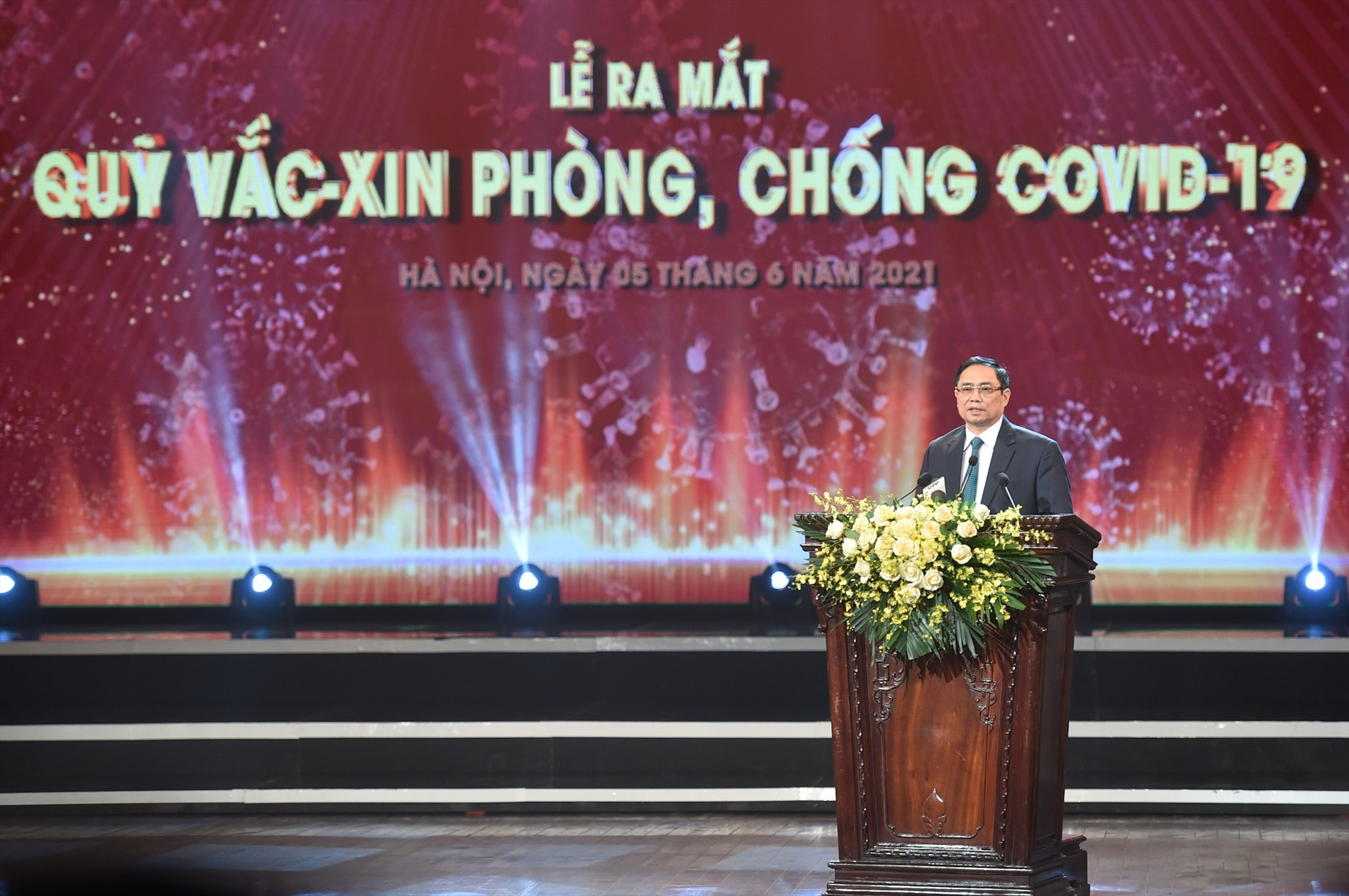 Vietnam's Prime Minister Pham Minh Chinh gives a speech at the launching ceremony of the VFVC. Photo: VGP