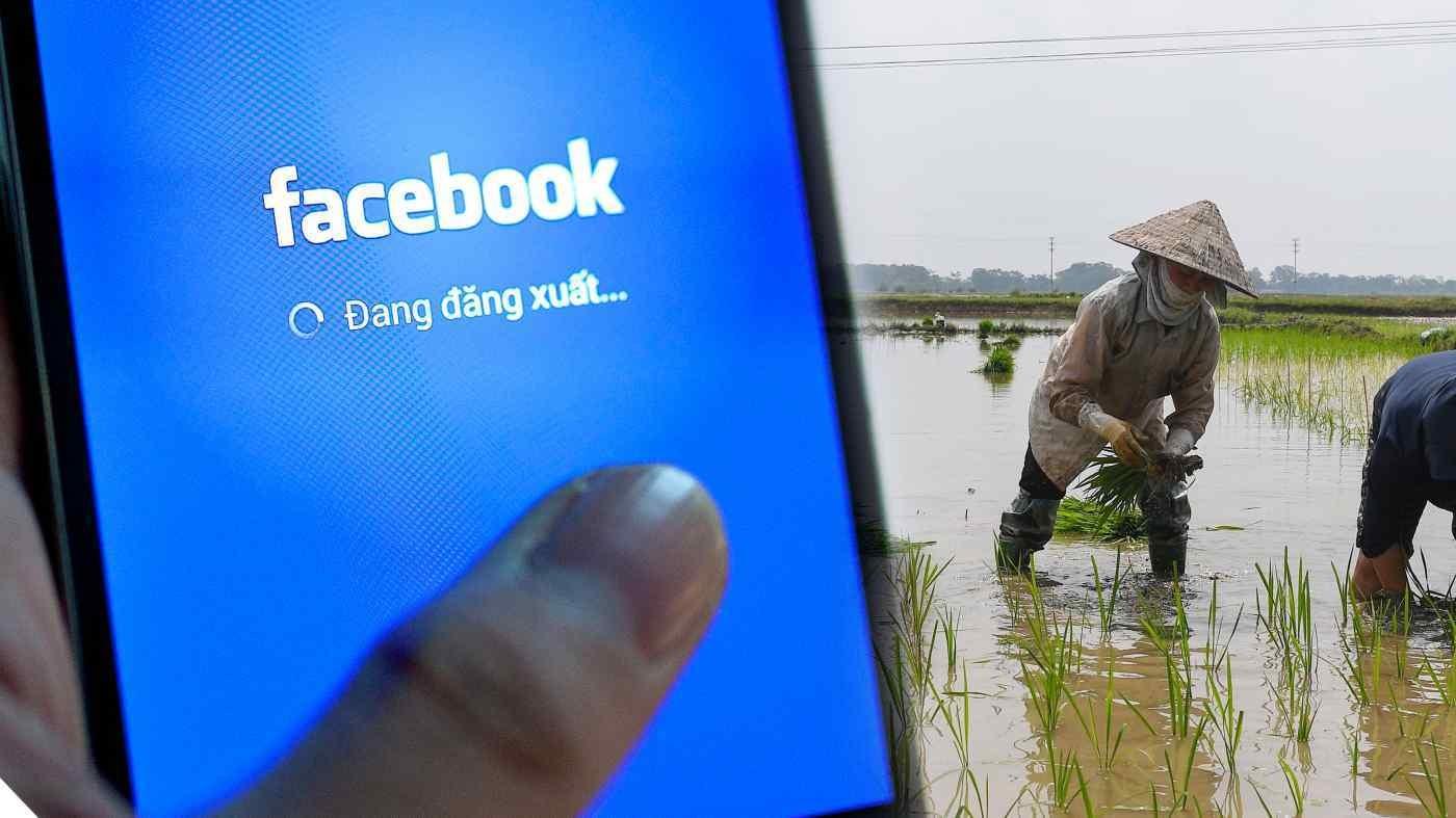 Facebook tìm cơ hội tăng trưởng ở người dùng nông thôn Việt Nam. (Ảnh: Nikkei)