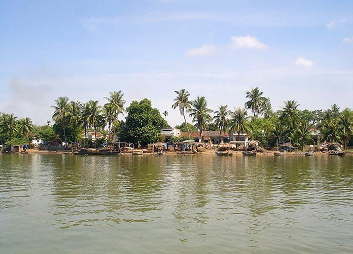 Làng hến Tân Phú nhìn từ sông Trường Giang.