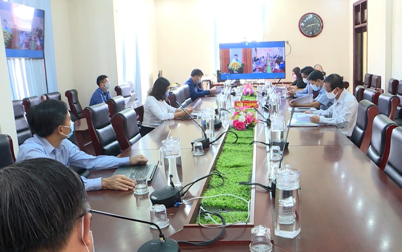 Núi Thành tổ chức hội nghị qua hệ thống truyền hình trực tuyến.Ảnh: VĂN PHIN