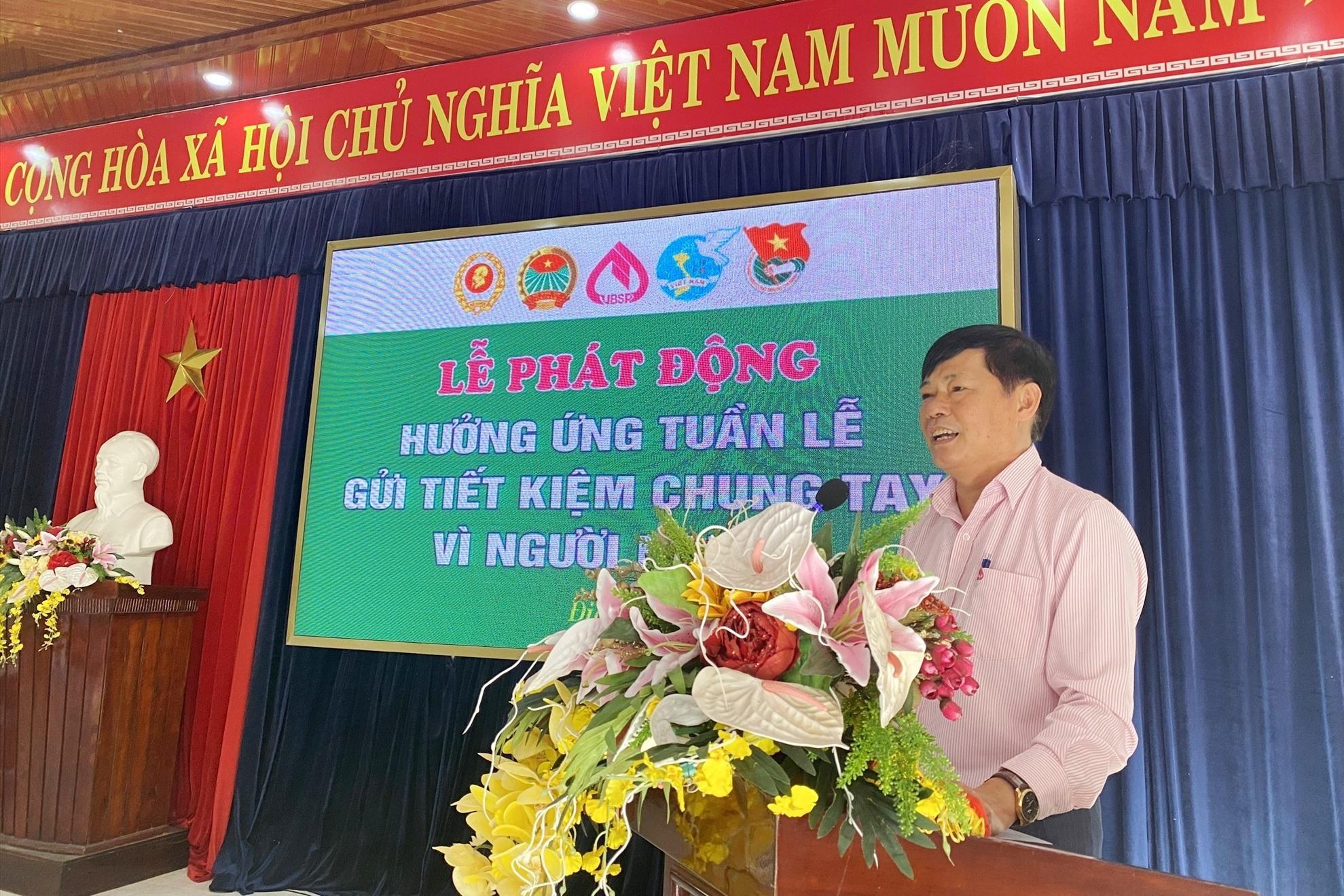 Ông Lê Hùng Lam kêu gọi các đơn vị, cá nhân và người dân tích cực tham gia gửi tiền tiết kiệm. Ảnh: Q.VIỆT