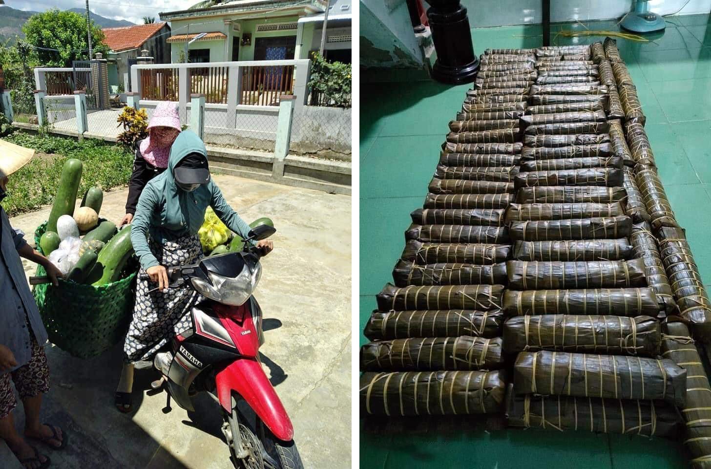Nông sản, rau xanh, bánh tét... được vận chuyển từ Đại Lộc vào tâm dịch TP. Hồ Chí Minh. Ảnh: H.L