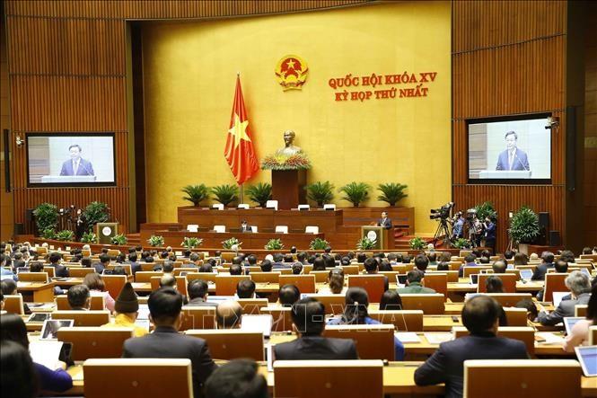 Chủ tịch Quốc hội khóa XIV Vương Đình Huệ phát biểu khai mạc. Ảnh: Doãn Tấn/TTXVN