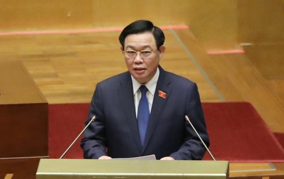 Chủ tịch Quốc hội Vương Đình Huệ phát biểu nhậm chức.