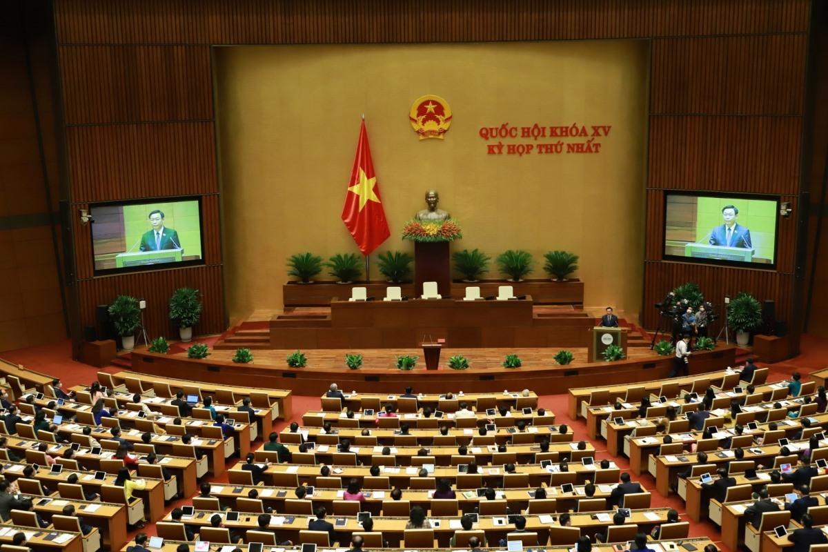Quốc hội nghe ông Vương Đình Huệ phát biểu nhậm chức.
