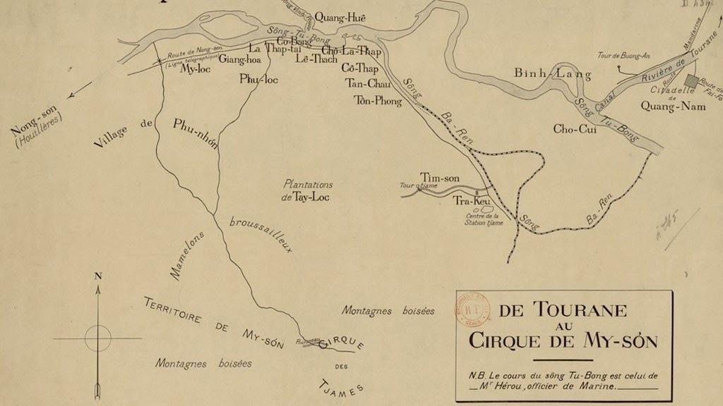 """Bản đồ từ Tourane (Đà Nẵng) đến Mỹ Sơn do Camille Paris và một cộng sự vẽ, ghi chú sông """"Tu-Bong""""."""