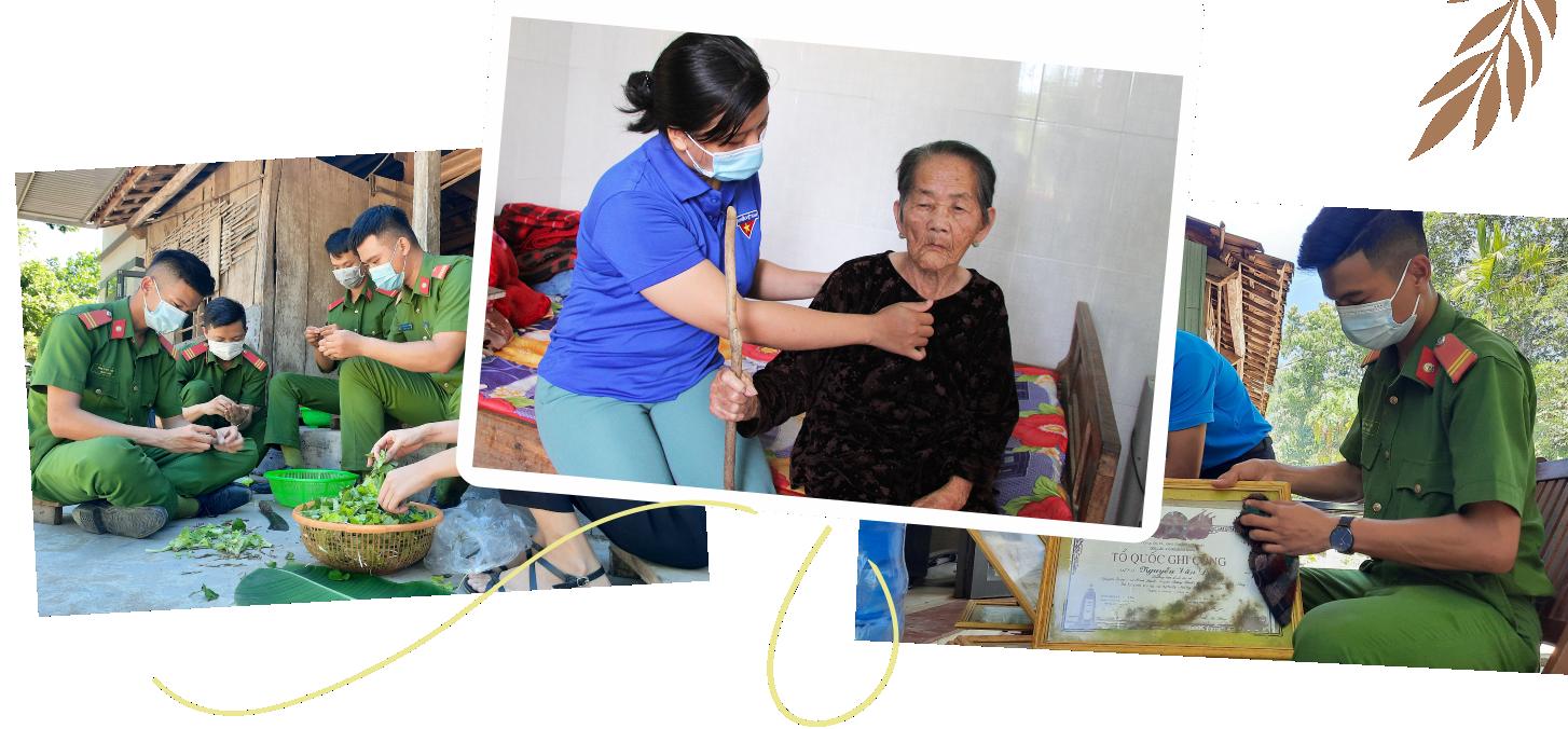 Mẹ Việt Nam anh hùng Nguyễn Thị Liên mãn nguyện vì các thanh niên luôn cạnh bên lúc tuổi già, được Đảng và Nhà nước quan tâm.