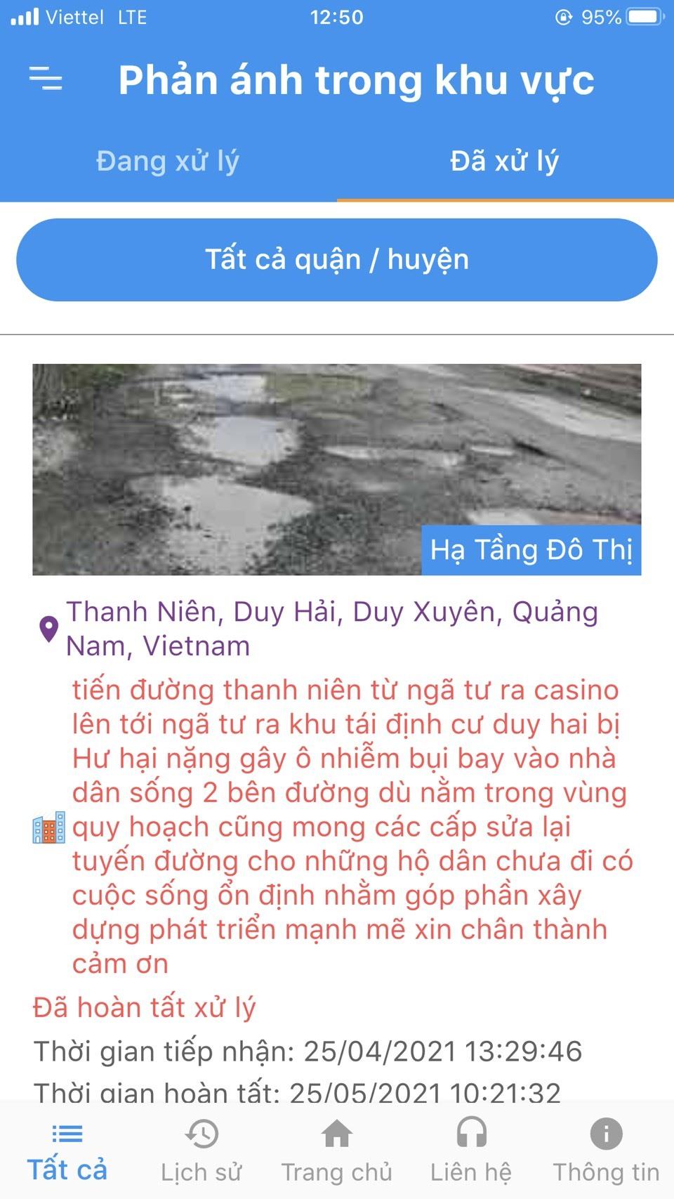 Một số phản ánh của người dân qua Smart Quảng Nam. Ảnh: V.A