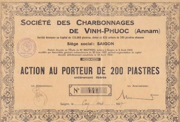 Cổ phiếu của Công ty mỏ than Vĩnh Phước (An Nam), mệnh giá 200 đồng Đông Dương, phát hành ngày 05-8-1927.