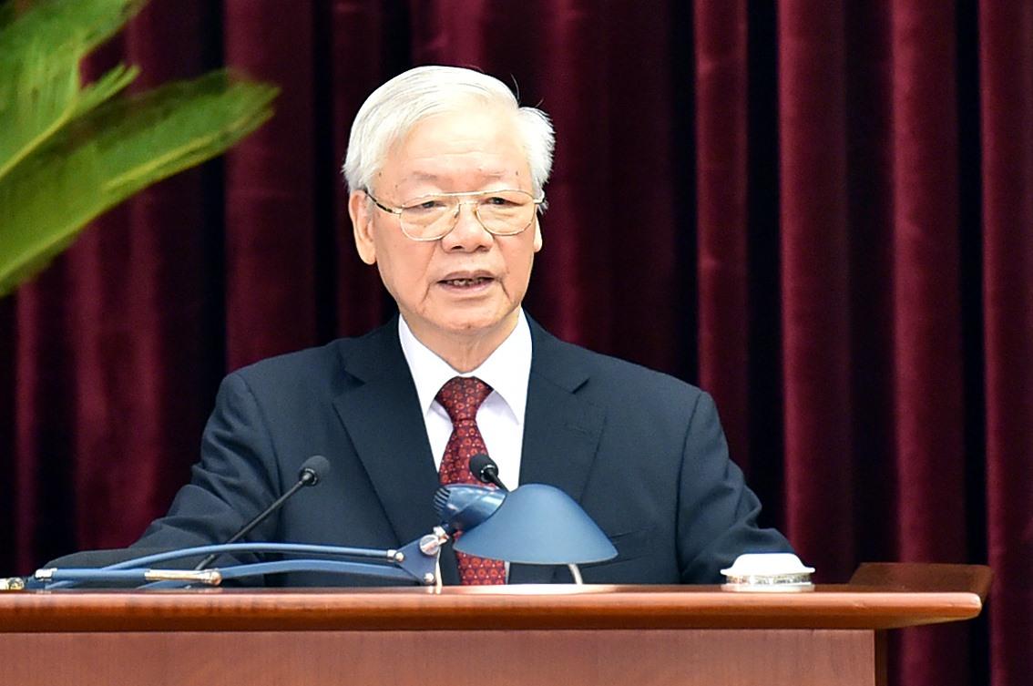 Tổng Bí thư Nguyễn Phú Trọng phát biểu khai mạc Hội nghị Trung ương 3 khóa XIII. Ảnh: VGP/Nhật Bắc
