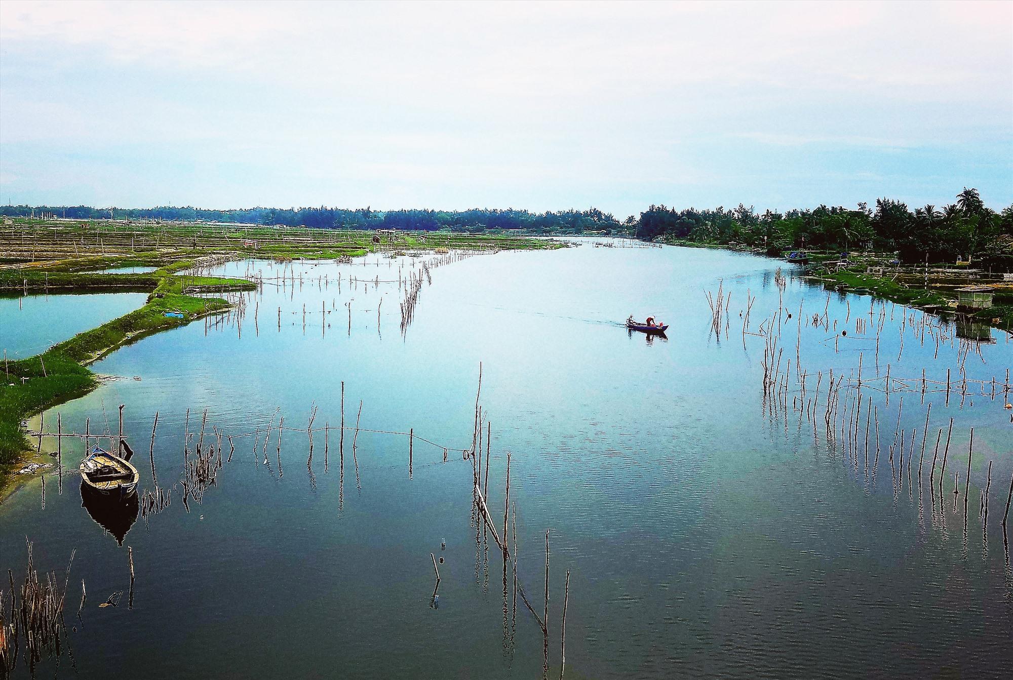 Cắm chươm khai thác thủy sản trên sông Trường Giang đoạn qua Tam Kỳ. Ảnh: Q.T