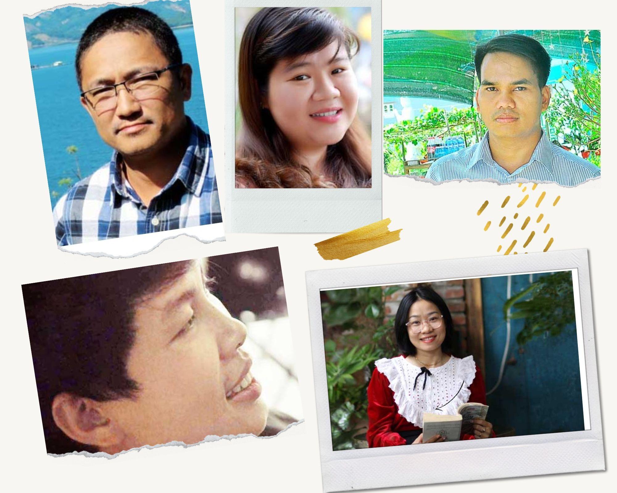 5 gương mặt trẻ được Hội VHNT Quảng Nam đề cử tham dự Hội nghị những người viết văn trẻ toàn quốc lần thứ 10: Trần Vương, Minh Thùy, Alăng Văn Gáo, Đỗ Hoàng Tâm, Cẩm Giang. Ảnh: B.A