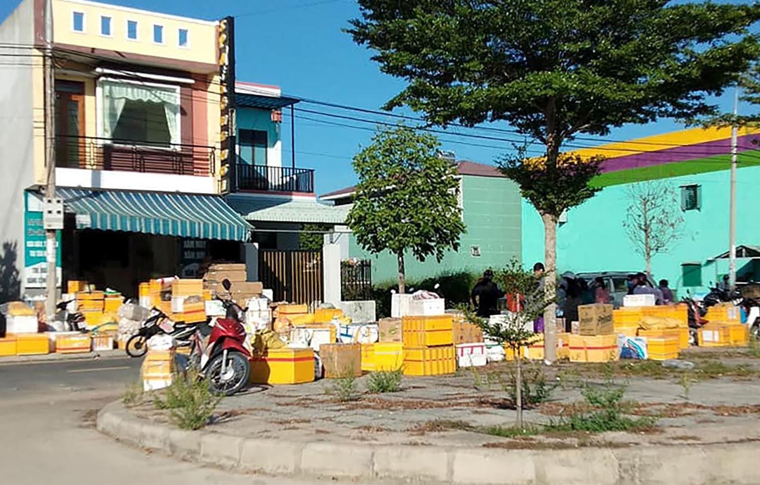 Hàng hóa người dân gửi vào cho người thân đang sinh sống, làm việc tại TP.Hồ Chí Minh chủ yếu là gạo, rau củ quả và nhu yếu phẩm. Ảnh: L.K
