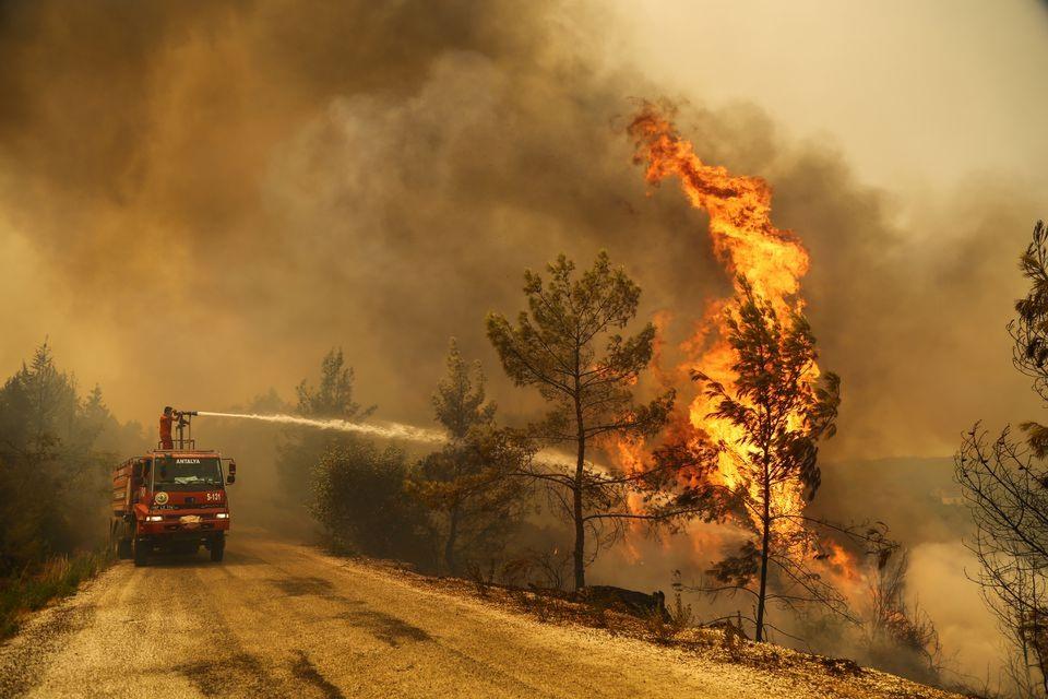 Nỗ lực dập tắt cháy rừng tại Thỗ Nhĩ Kỳ. Ảnh: Reuters