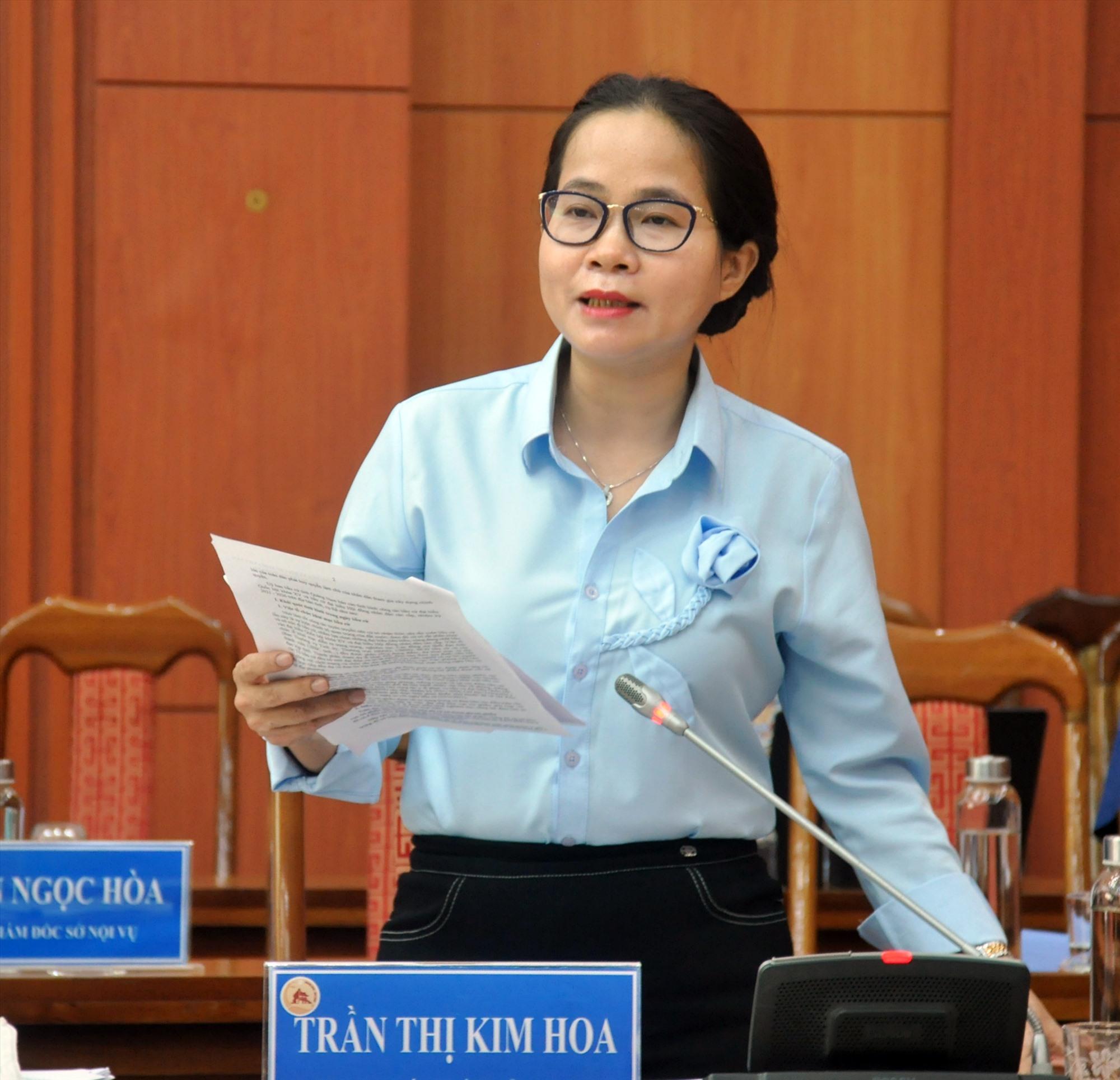 Bà Trần Thị Kim Hoa - Giám đốc Sở Nội vụ. Ảnh: N.Đ
