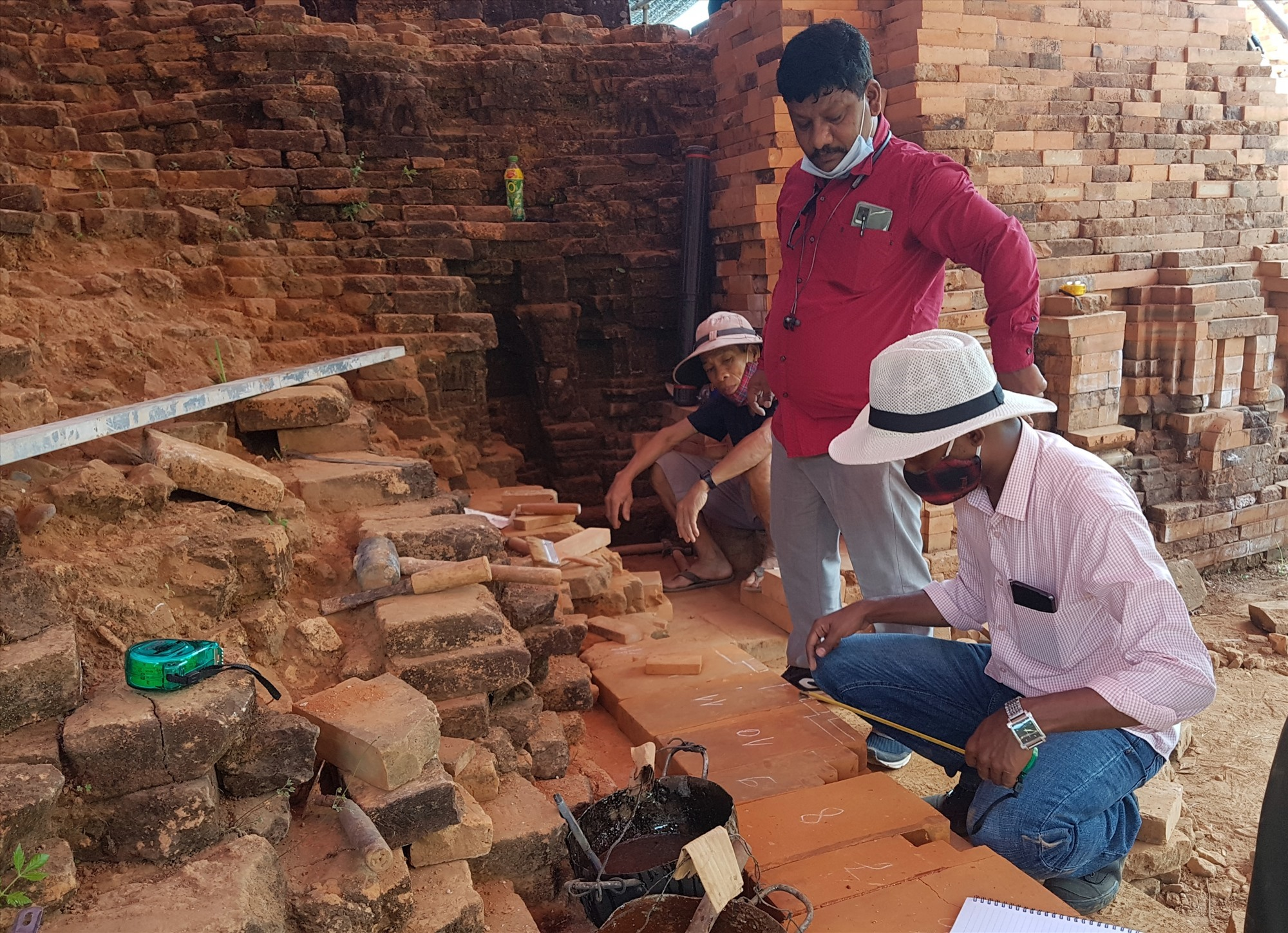 Indian experts working at Group A of My Son Sanctuary.
