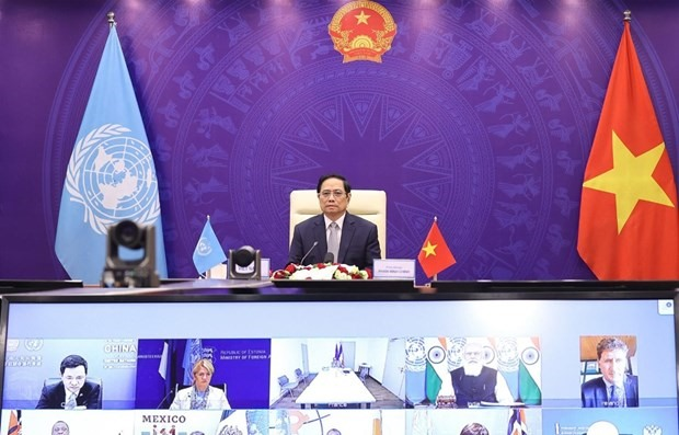 """At the UNSC's High-level Open Debate on """"Enhancing Maritime Security – A Case for International Cooperation"""", held virtually on August 9, Vietnamese Prime Minister Chinh presented three proposals to tackle maritime challenges. (Photo: VNA)"""