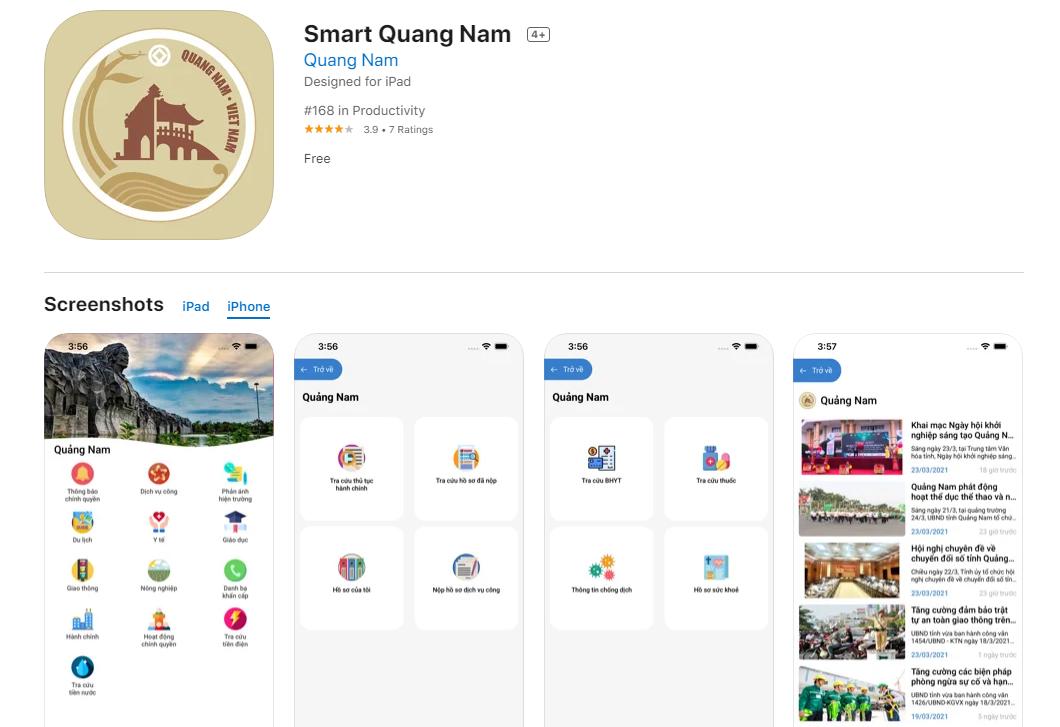 Ứng dụng Smart Quảng Nam trên AppStore.