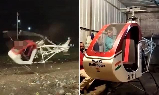 Hình ảnh chiếc trực thăng của Sheikh Ismail gặp sự cố khi bay thử. Ảnh: Daily Mail