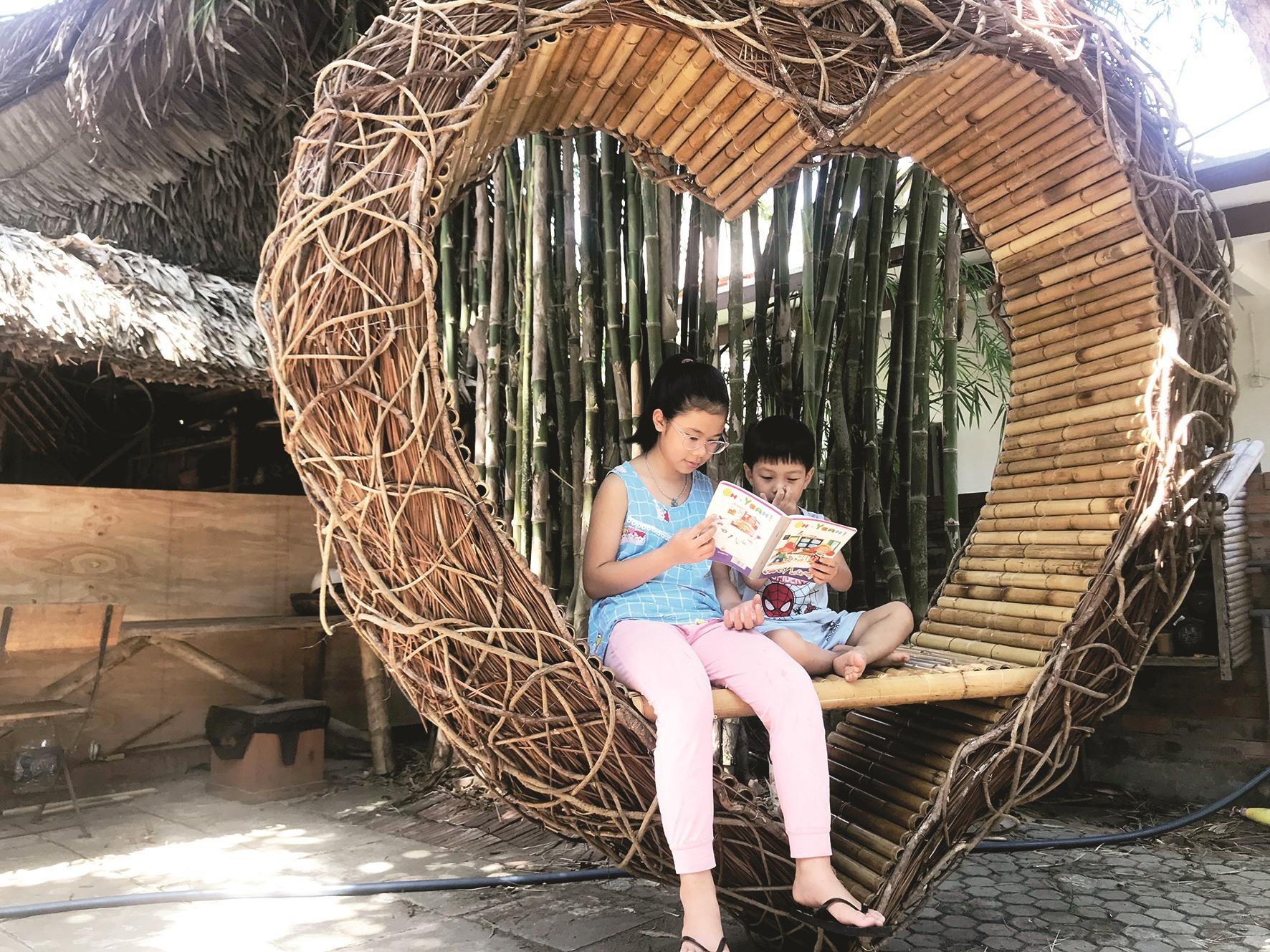 A heart-shaped bamboo and nipa palm product