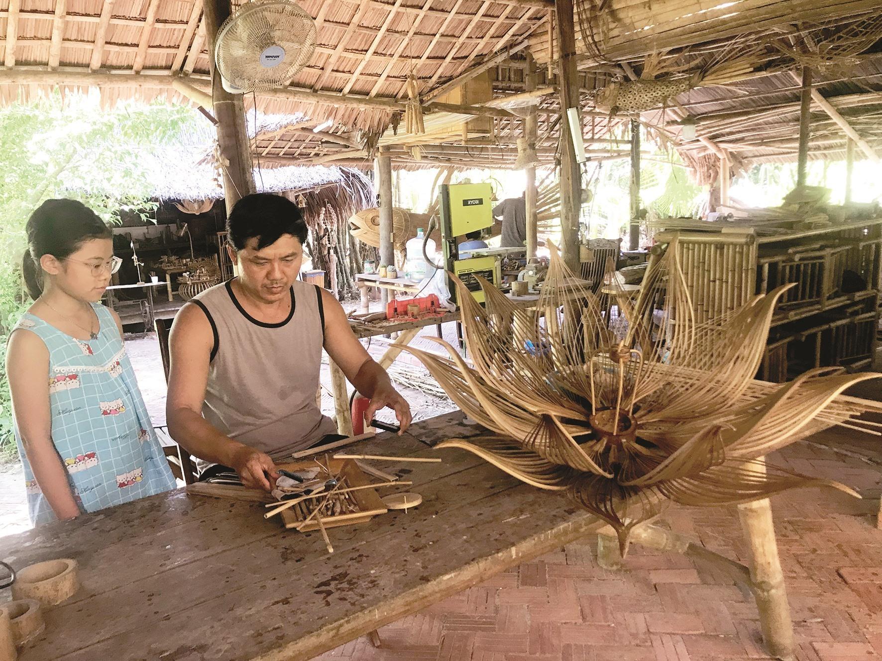 A lotus-shaped lantern made of bamboo.