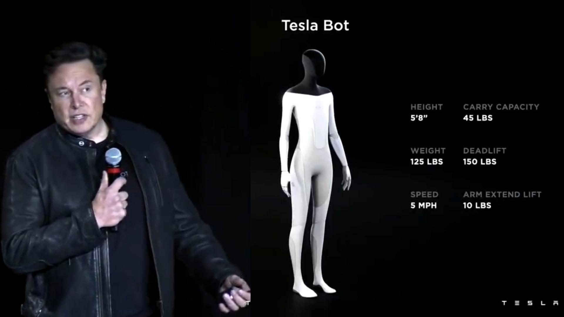"""Tỷ phú Elon Musk tiết lộ các bản vẽ của Tesla Bot trong sự kiện """"Ngày AI"""" của công ty. Ảnh: The Times of Israel"""
