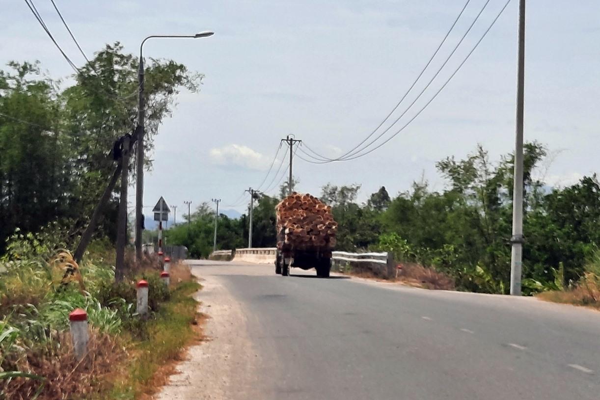 Vẫn còn nhiều trường hợp ô tô chở quá tải lưu thông trên địa bàn huyện Phú Ninh. Ảnh: H.Đ