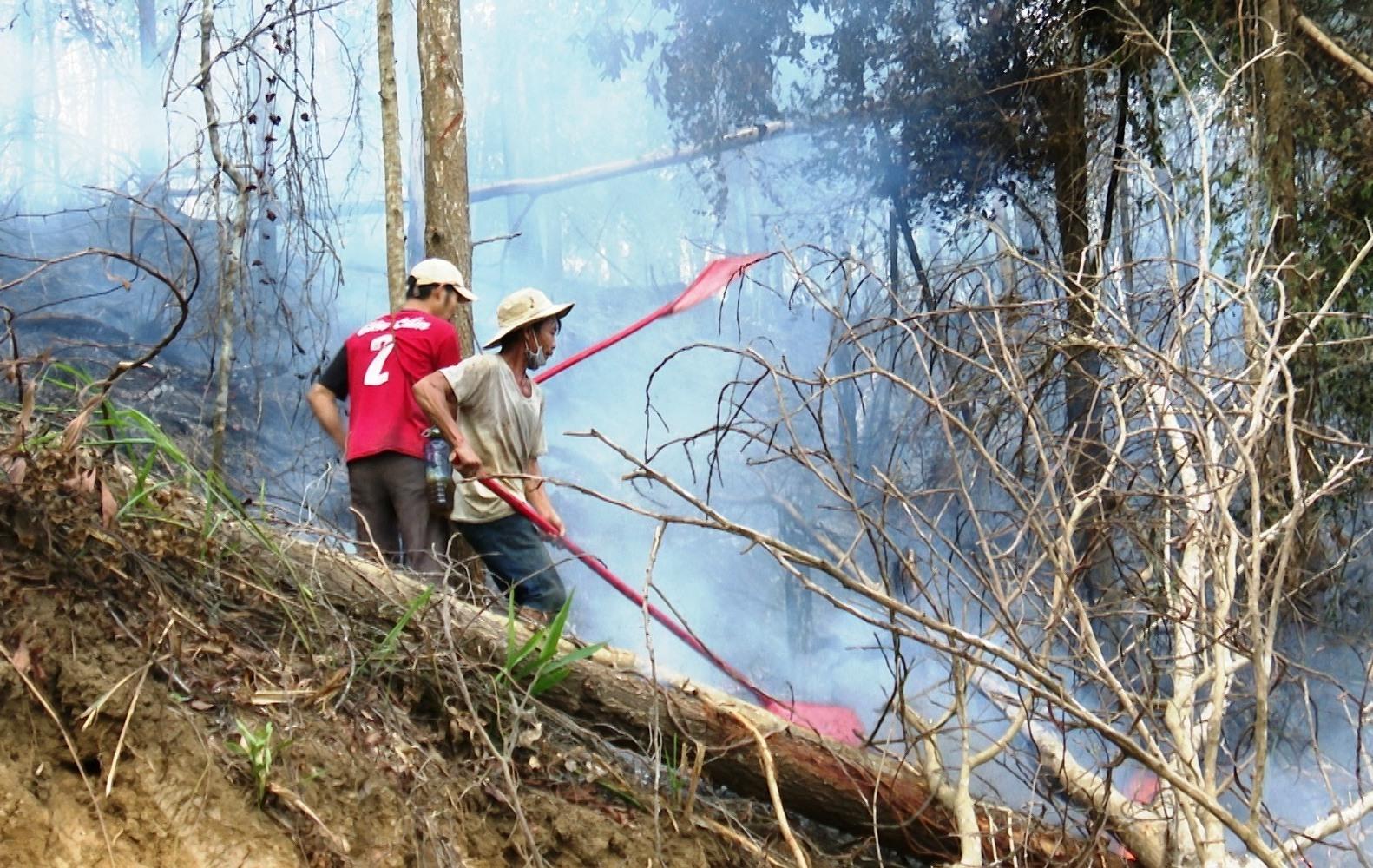 Vụ cháy rừng tại vùng giáp ranh 3 xã Tiên Châu, Tiên cẩm, Tiên Hà