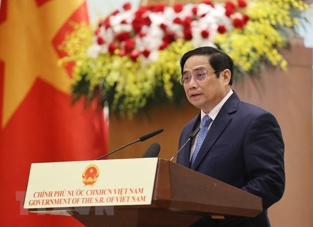 Thủ tướng Phạm Minh Chính đọc diễn văn tại Lễ kỷ niệm. (Ảnh: Dương Giang/TTXVN)