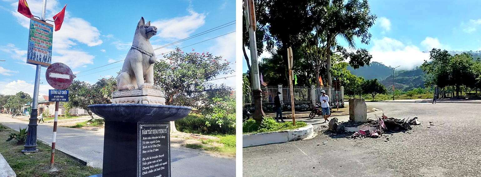 Một tượng chó đặt tại tuyến đường trung tâm của huyện Tây Giang và khu vực một tượng vừa được dỡ bở. Ảnh: ALĂNG NGƯỚC