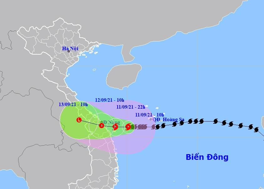 Ví trí và hướng di chuyển bão số 5. Ảnh: Trung tâm Dự báo khí tượng thủy văn quốc gia