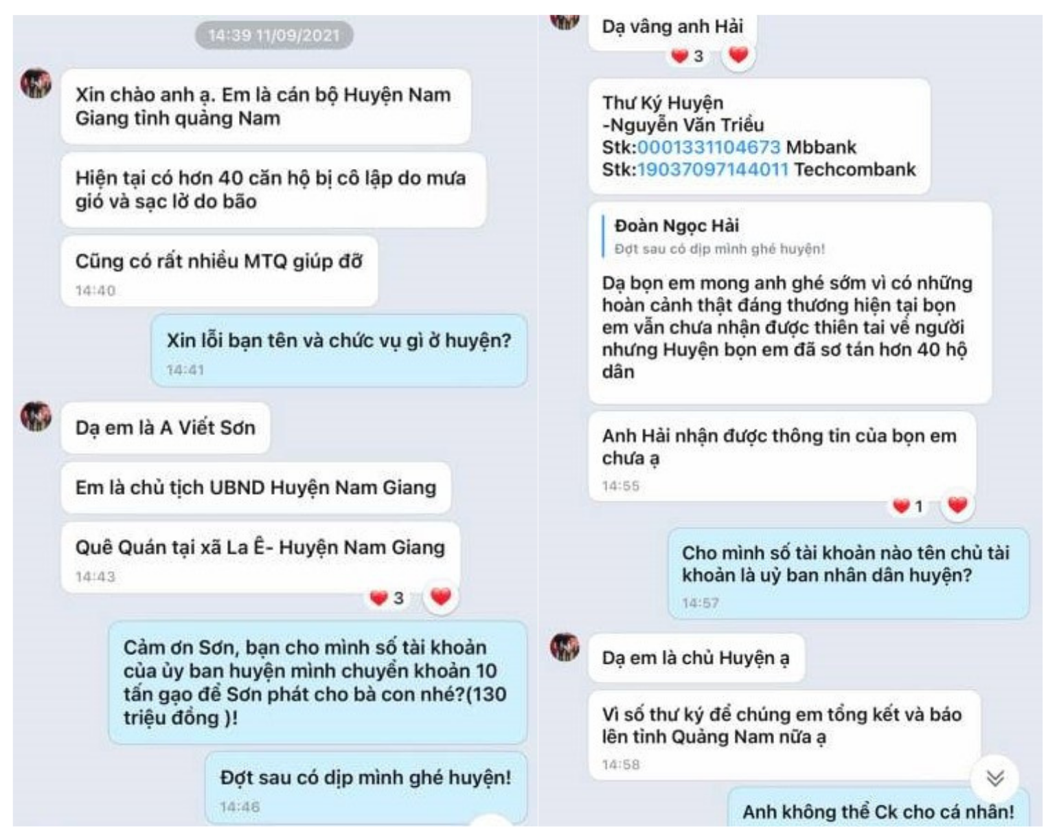 Tin nhắn của đối tượng gửi cho ông Đoàn Ngọc Hải, mạo danh ông A Viết Sơn - Chủ tịch UBND huyện Nam Giang. Ảnh: PV chụp lại