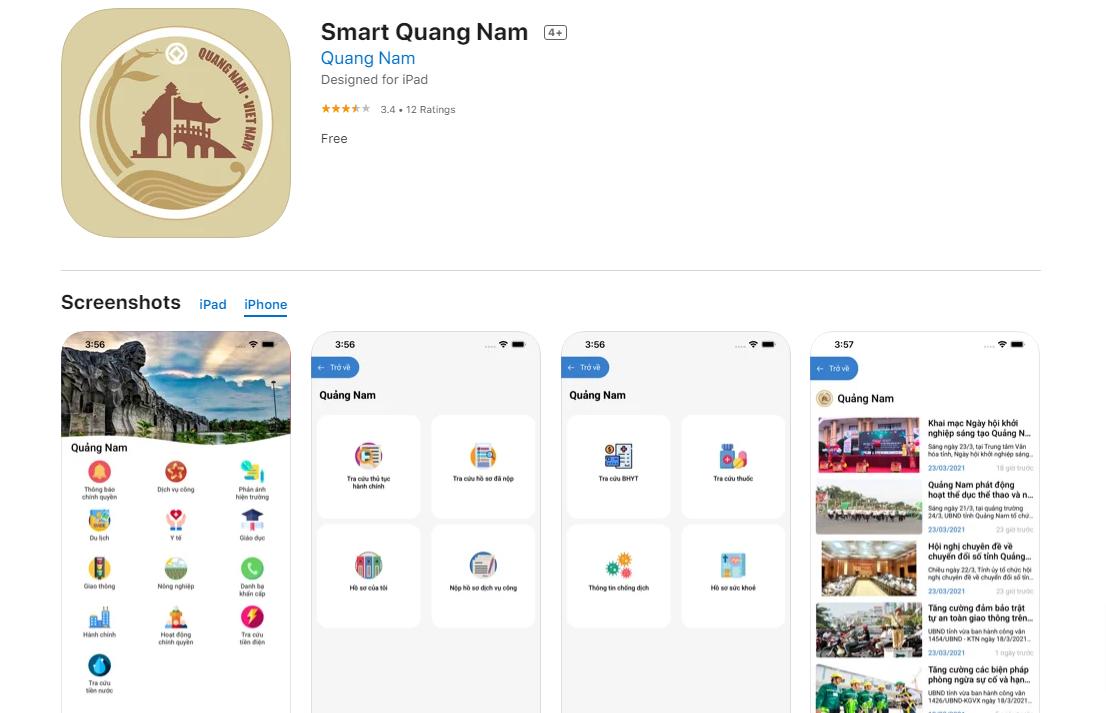 Ứng dụng Smart Quang Nam trên App Store.