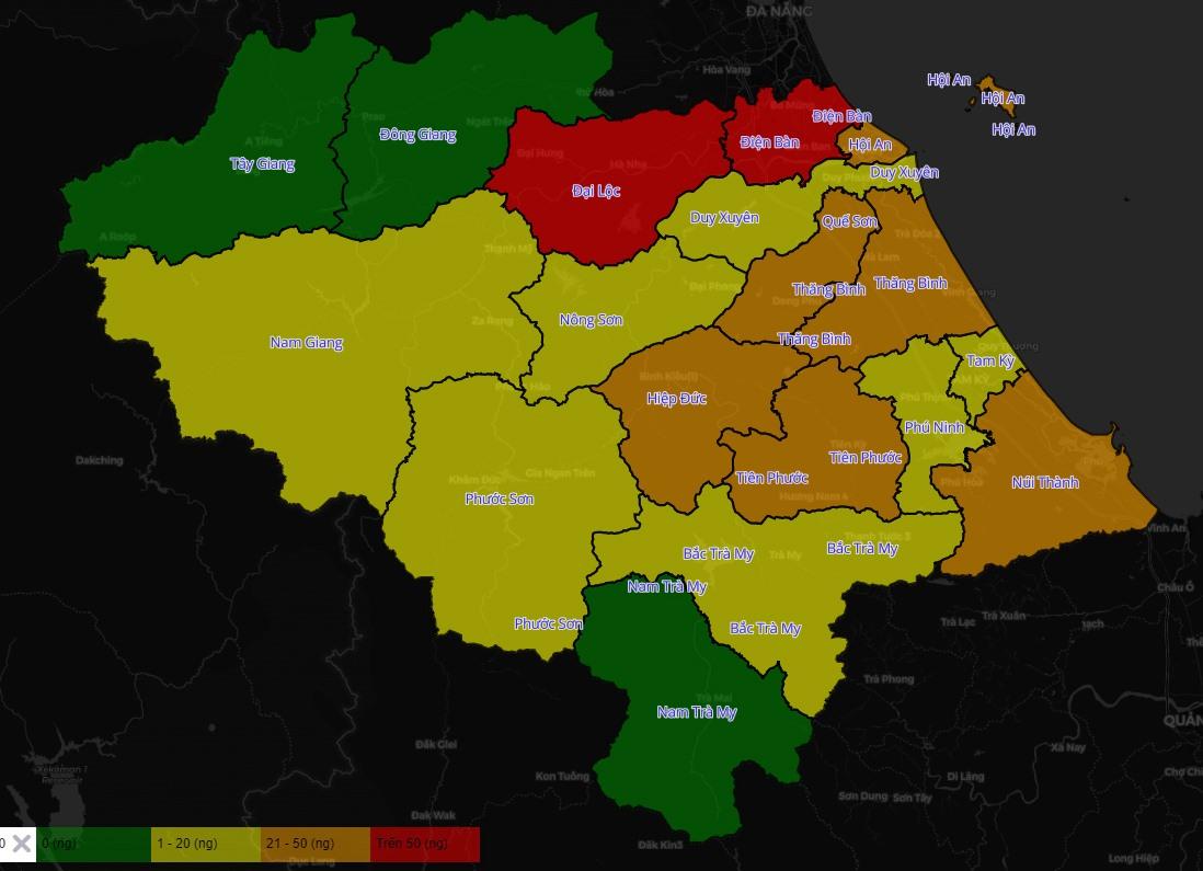 Biểu đồ màu về dịch Covid-19 ở Quảng Nam. Ảnh chụp từ Hệ thống thông tin phòng chống dịch Covid-19 tỉnh Quảng Nam.