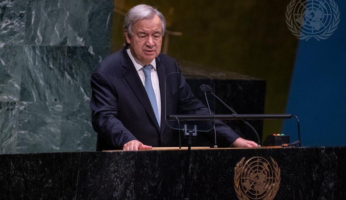 Tổng Thư ký Liên hiệp quốc António Guterres phát biểu tại lễ khai mạc Tuần lễ cấp cao kỳ họp Đại hội đồng Liên hiệp quốc khóa 76 tại New York, Mỹ. Ảnh: UN
