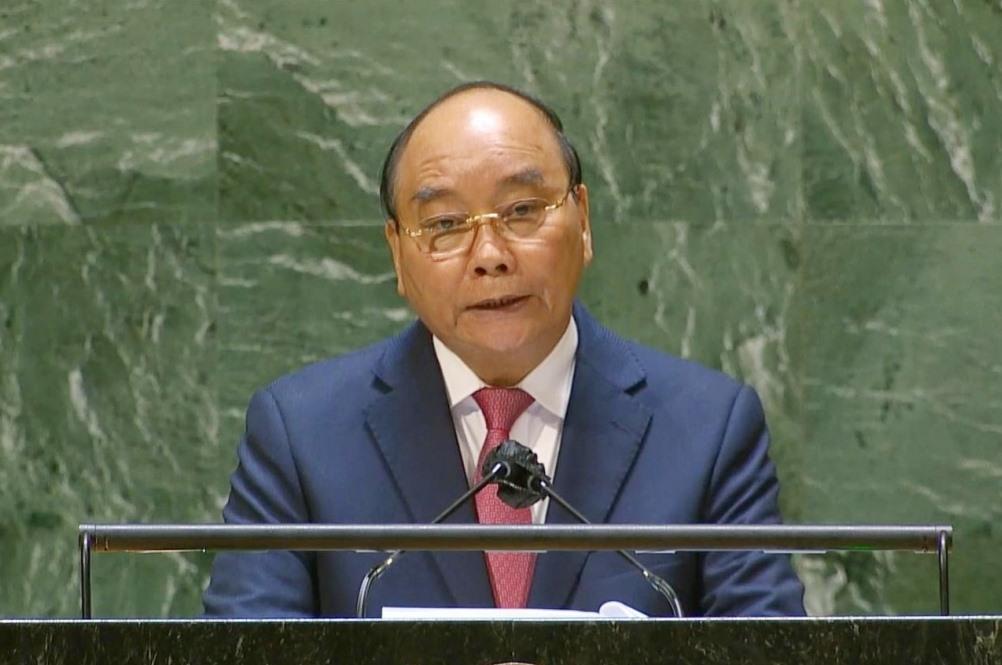 hủ tịch nước Nguyễn Xuân Phúc phát biểu tại Phiên thảo luận chung cấp cao Đại hội đồng Liên Hợp Quốc khóa 76