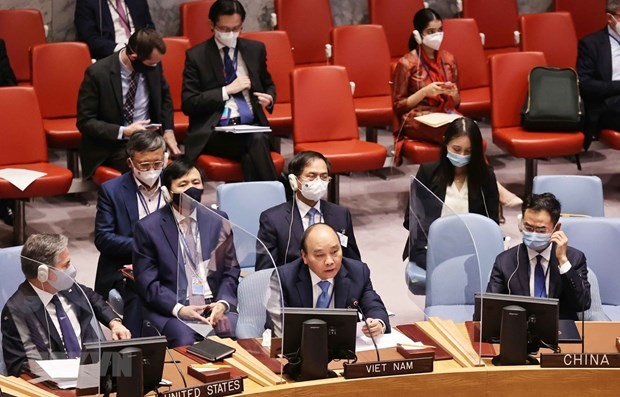 President Nguyen Xuan Phuc at the high-level open debate of the UNSC on climate security (Photo: VNA)