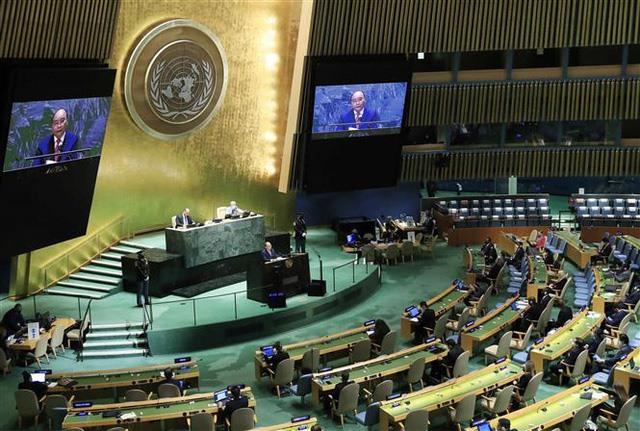 Chủ tịch nước Nguyễn Xuân Phúc phát biểu tại Phiên thảo luận Cấp cao Đại hội đồng LHQ lần thứ 76. Ảnh: Thống Nhất – TTXVN