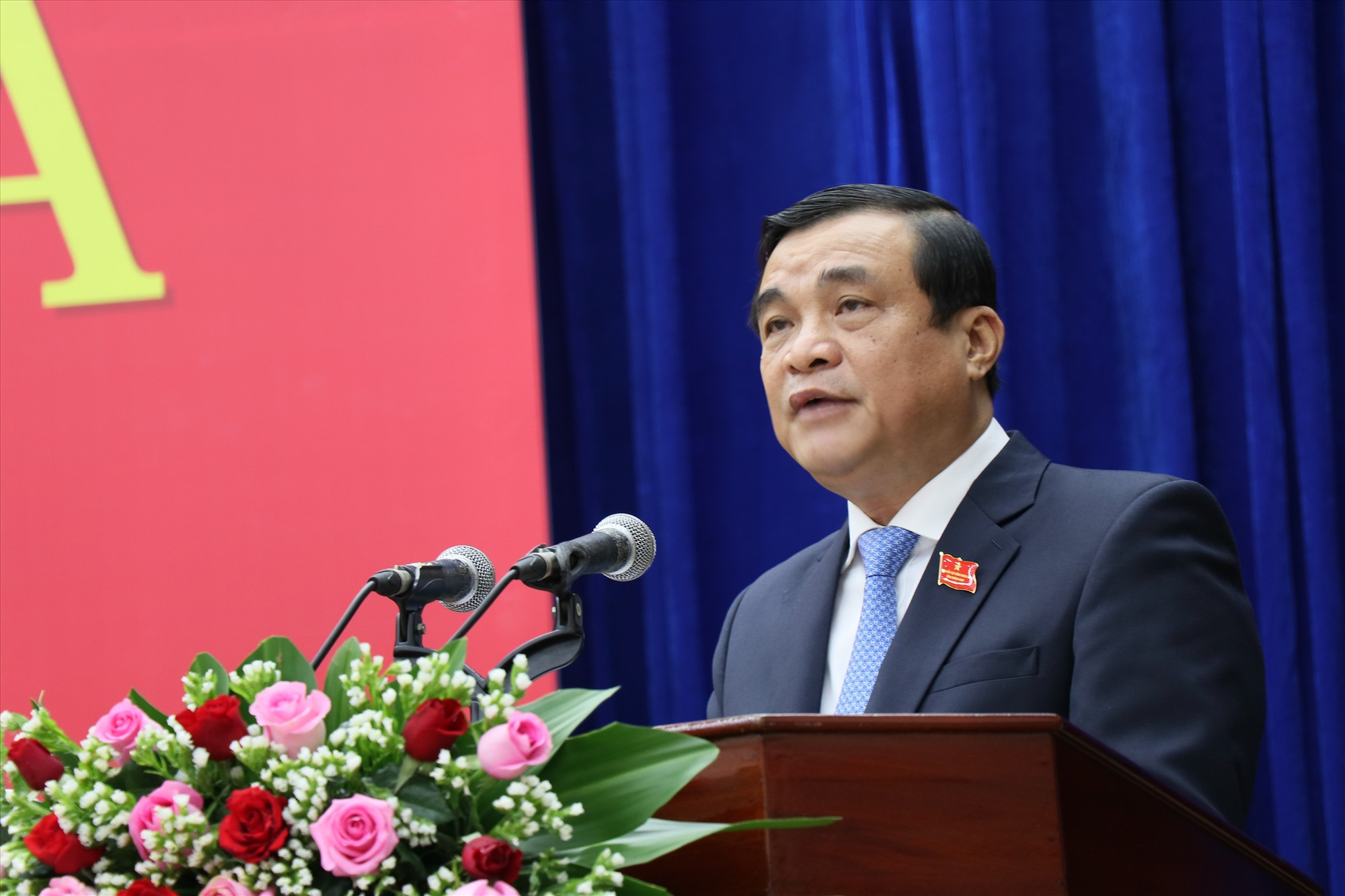 Bí thư Tỉnh ủy, Chủ tịch HĐND tỉnh Phan Việt Cường phát biểu khai mạc Kỳ họp thứ 3 sáng nay 29.9. Ảnh: N.Đ