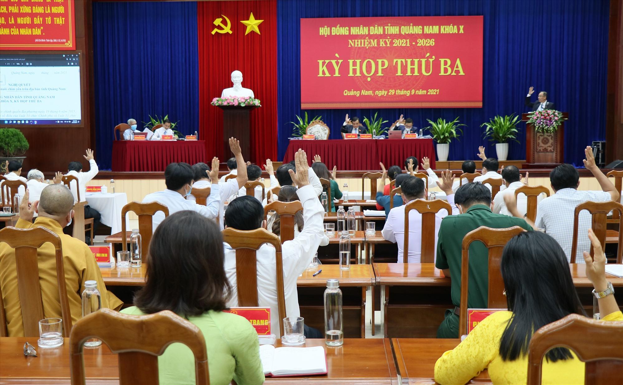 Đại biểu HĐND tỉnh biểu quyết thông qua các nghị quyết tại Kỳ họp thứ 3. Ảnh: N.Đ
