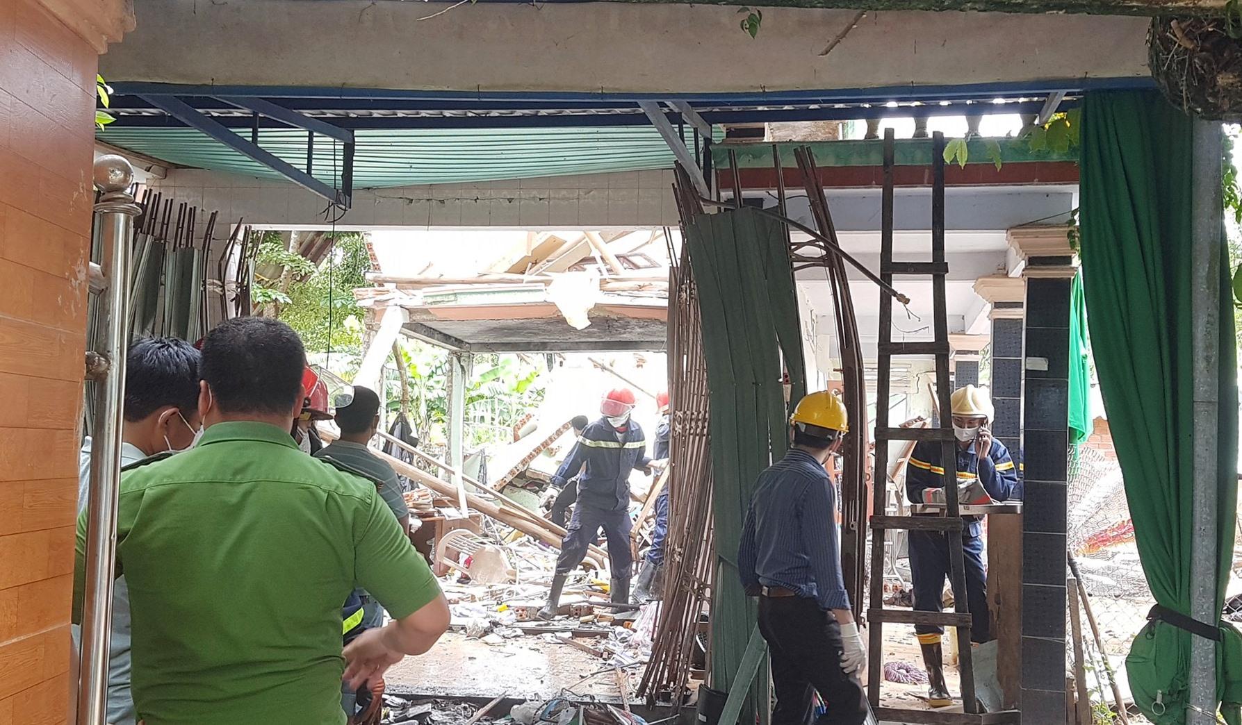 Bên trong căn nhà sau khi bị nổ.